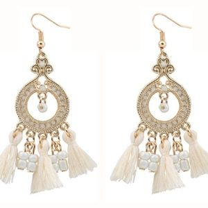 Jewelry - NWOT White Drop Chic Vintage Boho Tassel Earrings